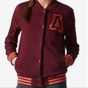 Adidas Wine Varsity Letterman Jacket Size Medium